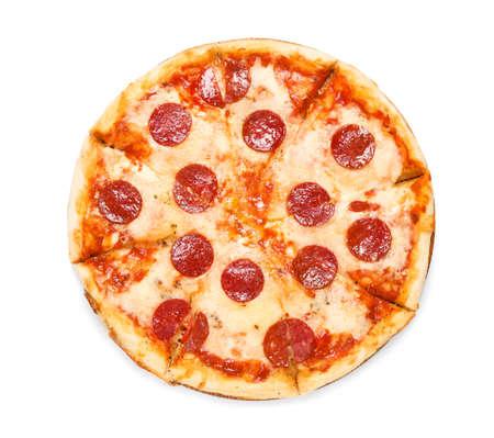 Hot delicious pepperoni pizza on white background, top view Foto de archivo