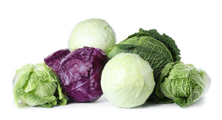 Different types of cabbage isolated on white Archivio Fotografico
