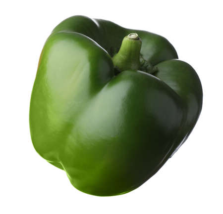 Raw green bell pepper isolated on white