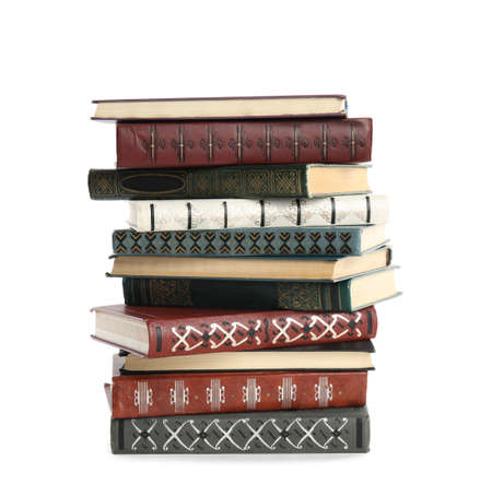 Collection of different books isolated on white