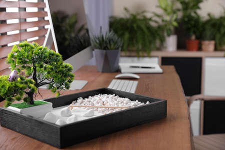 Beautiful miniature zen garden and computer on wooden table in office