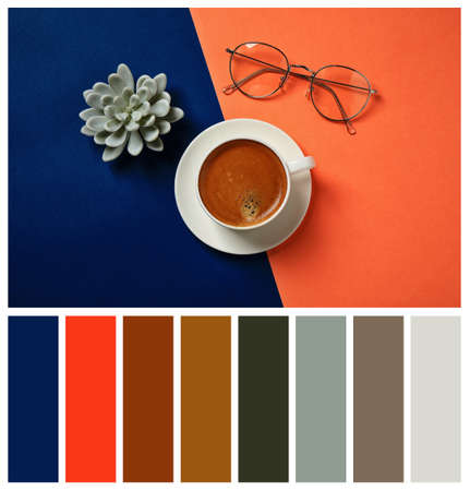 Flat lay composition inspired by color of the year 2020 (Classic blue) on bright background Stock fotó