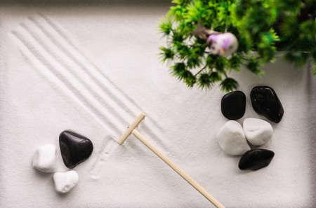 Top view of beautiful miniature zen garden Stock Photo