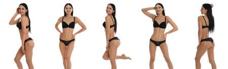 Collage der schönen jungen Frau in schwarzer Unterwäsche isoliert auf weiß
