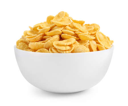 Bowl of tasty corn flakes isolated on white