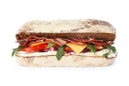 Delicious sandwich with fresh vegetables and prosciutto isolated on white