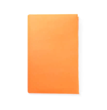 Book with blank orange cover isolated on white, top view Reklamní fotografie