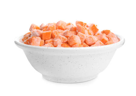 Frozen carrots in bowl isolated on white. Vegetable preservation