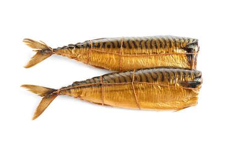 Tasty smoked mackerel fish isolated on white, top view