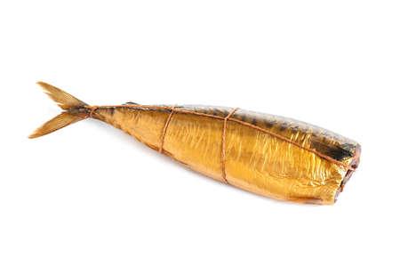 Tasty smoked mackerel fish isolated on white Archivio Fotografico