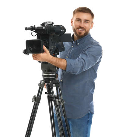 Operator with professional video camera on white background Standard-Bild