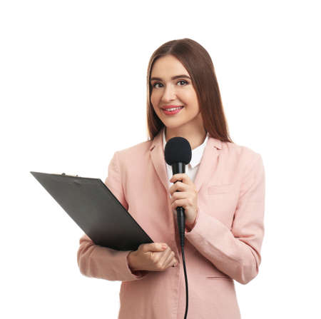 Young female journalist with microphone and clipboard on white background Stock fotó