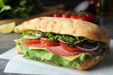 Delicious sandwich with fresh vegetables and salami on table Reklamní fotografie