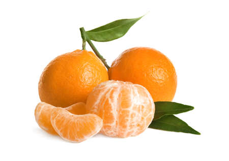 Fresh ripe juicy tangerines isolated on white