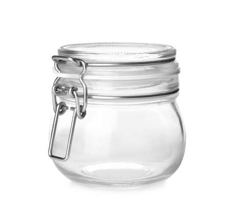 Closed empty glass jar isolated on white