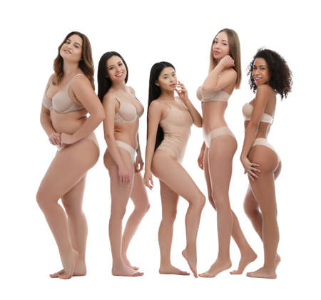 Group of women with different body types in underwear on white background Stockfoto