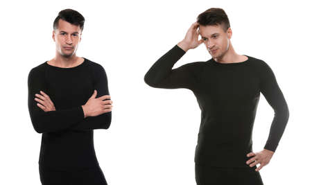 Collage of man wearing thermal underwear isolated on white