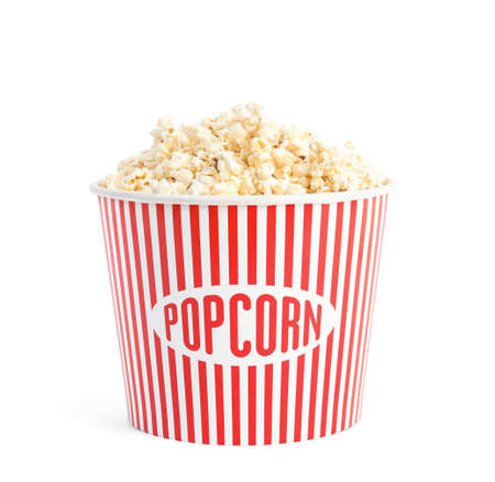 Bucket of tasty pop corn isolated on white