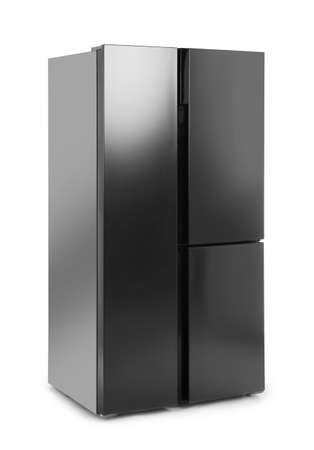 Modern stainless steel refrigerator isolated on white