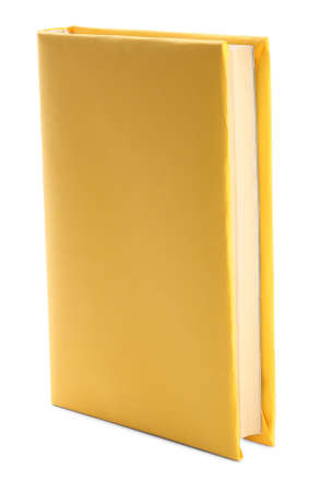 Book with blank yellow cover isolated on white
