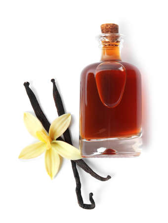 Vanilla extract, flower and dry pods isolated on white, top view