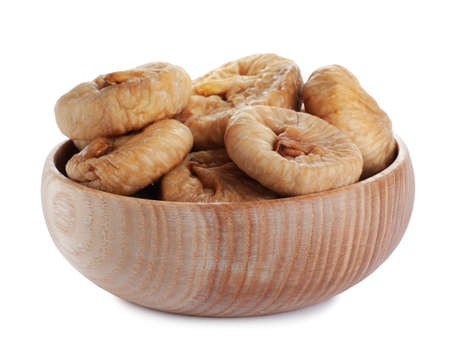 Tasty dried figs in bowl isolated on white