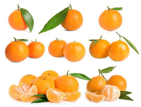 Set of fresh juicy tangerines on white background Stock fotó