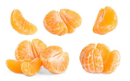 Set of fresh juicy tangerines on white background 版權商用圖片