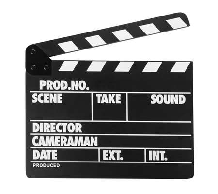 Clapper board isolated on white. Cinema production Stockfoto