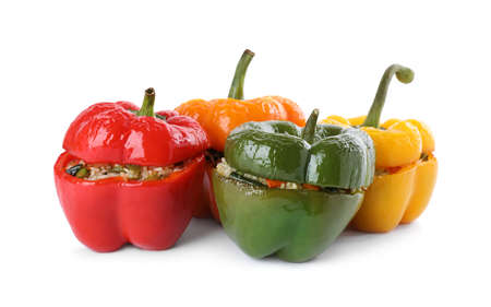 Tasty stuffed bell peppers isolated on white