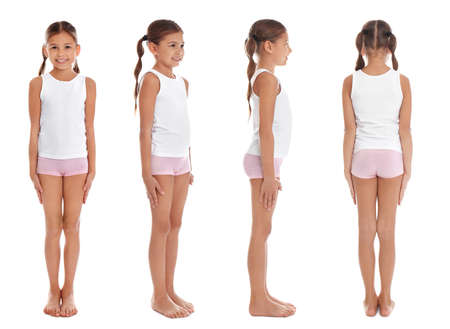 Collage of cute little girl in underwear on white background