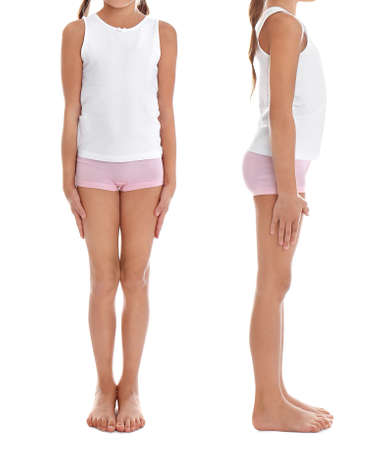 Collage of little girl in underwear on white background