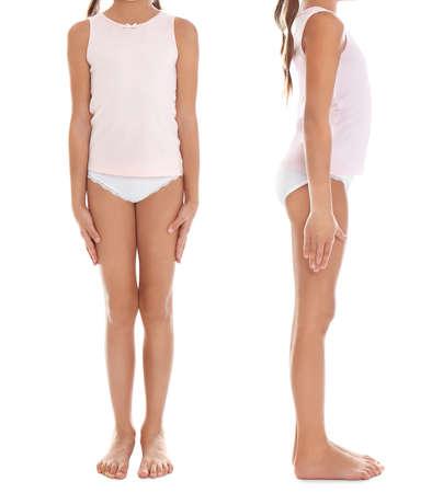 Collage de niña en ropa interior sobre fondo blanco.