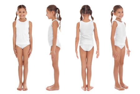 Collage de mignonne petite fille en sous-vêtements sur fond blanc Banque d'images