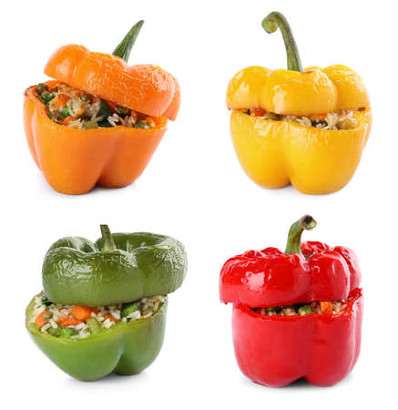 Set of delicious stuffed bell peppers on white background Reklamní fotografie