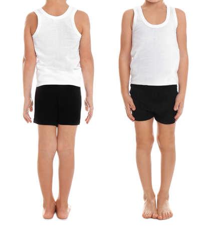 Collage of little boy in underwear on white background