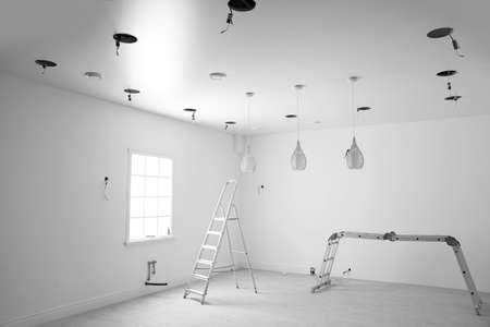 Empty room with stretch ceiling and ladders