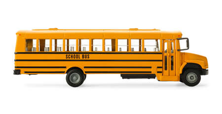 Yellow school bus isolated on white. Transport for students Foto de archivo
