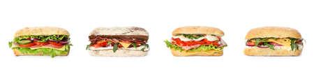 Satz köstliche Sandwiches auf weißem Hintergrund. Banner-Design