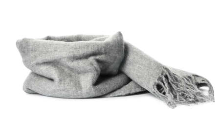 Grey scarf isolated on white. Warm accessory