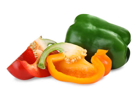 Different ripe bell peppers isolated on white