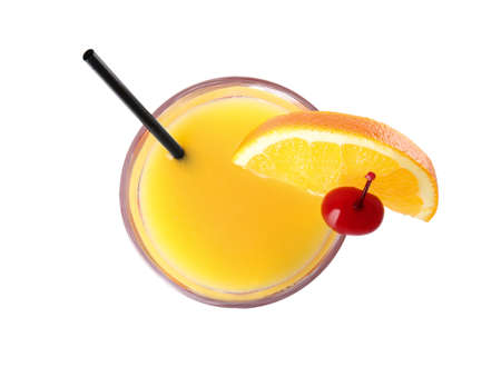 Fresh alcoholic Tequila Sunrise cocktail isolated on white, top view