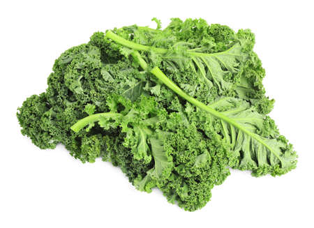 Fresh green kale leaves isolated on white Banque d'images