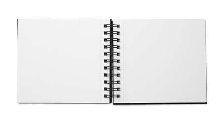 Stylish open notebook isolated on white, top view Stockfoto
