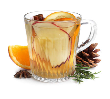 Composition with aromatic mulled wine on white background