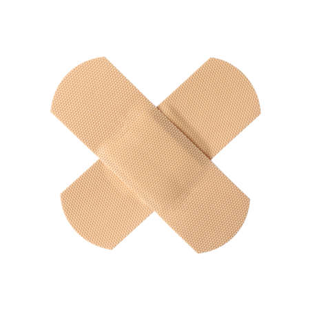 Medical sticking plasters isolated on white. First aid item