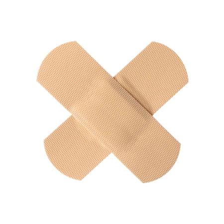 Yesos adhesivos médicos aislados en blanco. Artículo de primeros auxilios