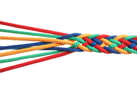 Braided colorful ropes on white background. Unity concept