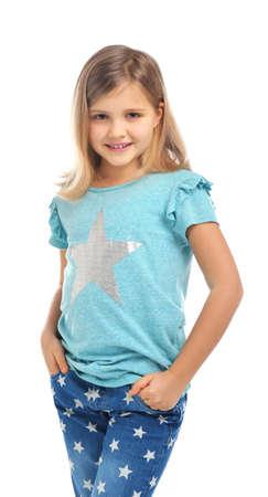 Cute little girl posing on white background