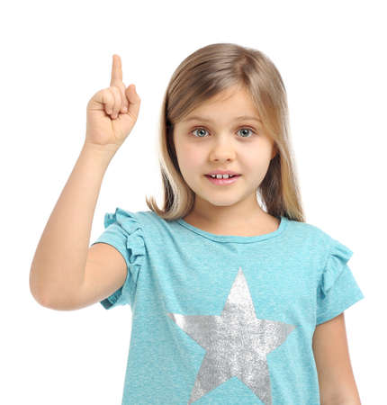 Emotional little girl wearing casual outfit on white background
